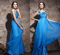 Royal Blue Long Evening Dress Sheer See Through Backless Sexy Evening Prom Party Gown Heavy Beaded Crystal Women Dress