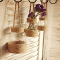 New Retro Style Hemp Rope Handle Glass Vase Home Hydroponic Flower Hanging Glass Vase
