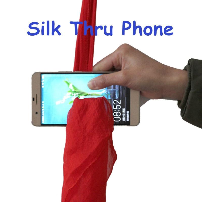 Silk Scarf Thru Phone Incredible Magic Props Through Phone Close Up Stage Magic Tricks Magie for