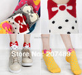 Wholesale retail female lady girl's Soft Cotton Home warm Socks Cute Beautiful Loving sweet dot bowknot 5 color option