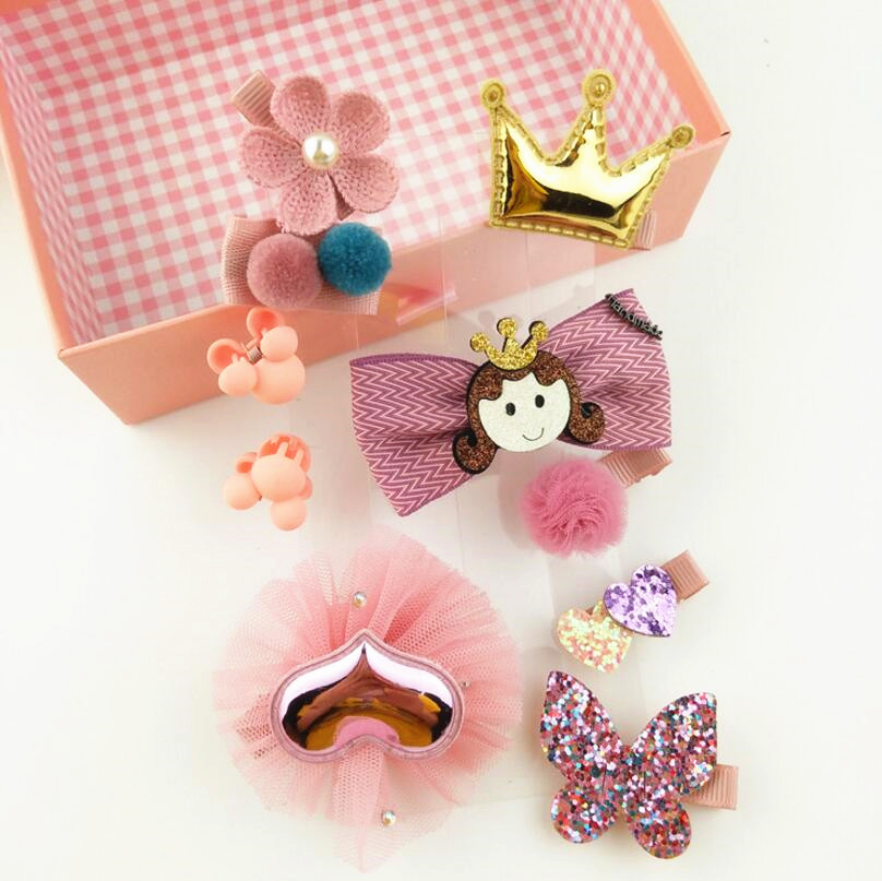 10Pcs Cute Cloth Bowknot Hair clips Girls Hairpins Set Colorful Bow Barrettes Toddlers Safety cloth Headwear Accessories J35 10pcs lot high quality new 6 0cm barrettes safety pack cloth hair clips for women accessories colorful solid girls cute hairpins