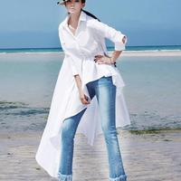 2018 Long Sleeve Turn Down Neck Women Blouse White Buttons Loose Ruffles Swallowtail Casual Blouse Shirt
