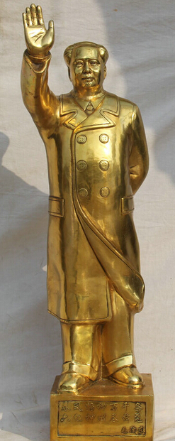 """JP S62 32"""" Larger Chinese Brass Stand word revolutionist politician Mao Ze Dong Statue Discount 35% statue     - title="""