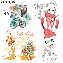 ZOTOONE Trend Girl Iron on Transfer Patches Clothing Diy Patch Heat for Clothes Decoration Stickers Accessories E