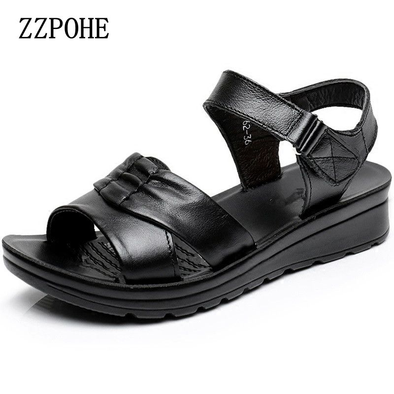ZZPOHE  Summer Shoes Women Sandals Leather soft soles comfortable Ladies sandals large size Middle-aged casual Open Toe sandals цена 2016