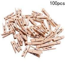 100pcs pack Mini Wooden font b Pegs b font Natural Wooden Clothes font b Pin b