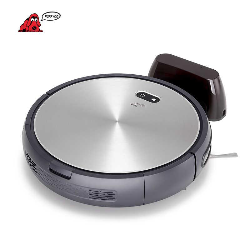 Puppyoo Robotic Vacuum Cleaner Auto-Biaya Kuat Bilateral Sikat Rumah Robot Collector APP Kontrol Mesin WP650