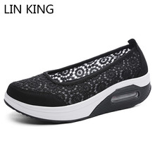 LIN KING Breathable Lace Women Swing Shoes Med Heel Wedges Platform Shoes Thick Sole Lazy Sneakers Plus Size Nurse Work Shoes