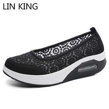 Lin king/дышащая женская обувь на шнуровке; Обувь среднем каблуке;