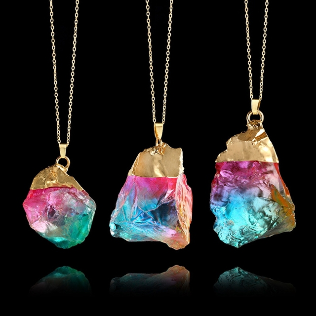 Natural Stone Pendants Rainbow natural stone necklace colorful irregular stone pendants rainbow natural stone necklace colorful irregular stone pendants necklaces for women handmade fashion charms jewelry bs2 audiocablefo