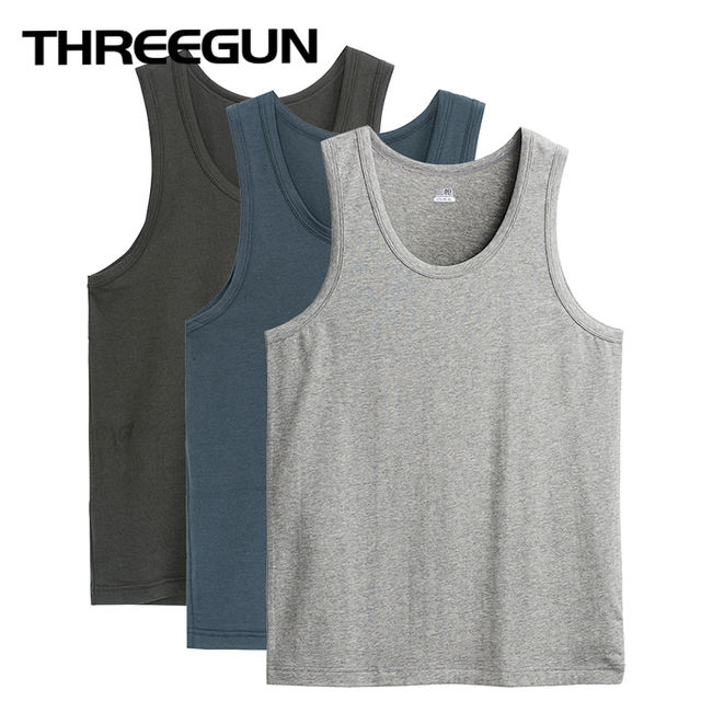 THREEGUN Brand 3-pack Mens Fitness Undershirts Solid Vest Male Bottoming Shirt Gym Bodybuilding Undershirts Sous Chalecos Hombre