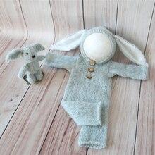 Шапочка с кроликом и комбинезон с капюшоном; комплект для новорожденных; шапка с кроликом; Пасхальный наряд для малышей; реквизит для фотосессии