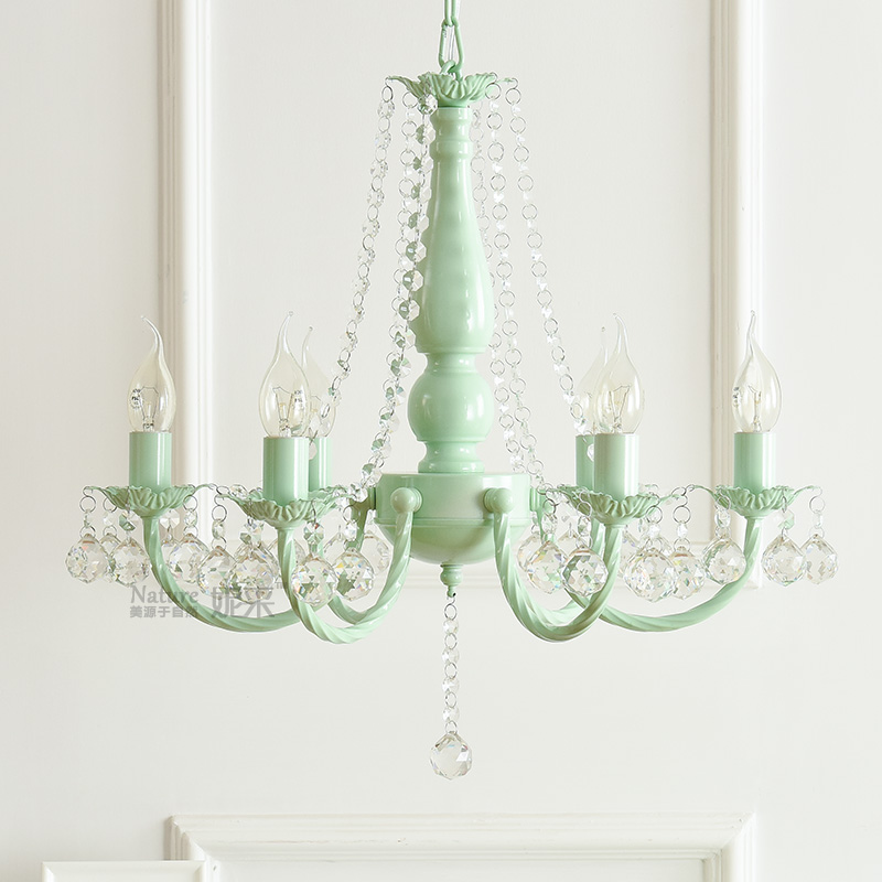 Macaron Nordic ins idyllic Korean pink green chandelier white princess girl children room bedroom dining room crystal chandelierMacaron Nordic ins idyllic Korean pink green chandelier white princess girl children room bedroom dining room crystal chandelier