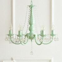 Macaron Nordic ins idyllic Korean pink green chandelier white princess girl children room bedroom dining room crystal chandelier