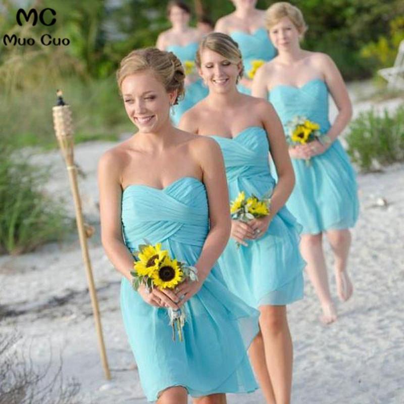 2018 New Bridesmaid Dress Short Sweetheart Wedding Party Dresses Pleat Chiffon Bridesmaids Dresses Short Custom Made