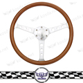 Kyostar- Wooden 370mm 15''Classic steering wheel 3-hole Chrome Spoke Vintage Classic Wood Grain Finish