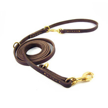 Multi Function Brown Genuine Leather Dog Leash Training for Small Medium and Large dogs