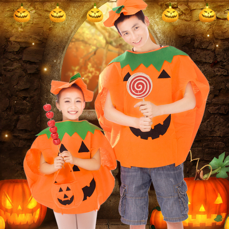 2018 New Design Halloween Costumes Pumpkin Fancy Dress Party Adults Kids Children Cosplay Outfit lovely Creative