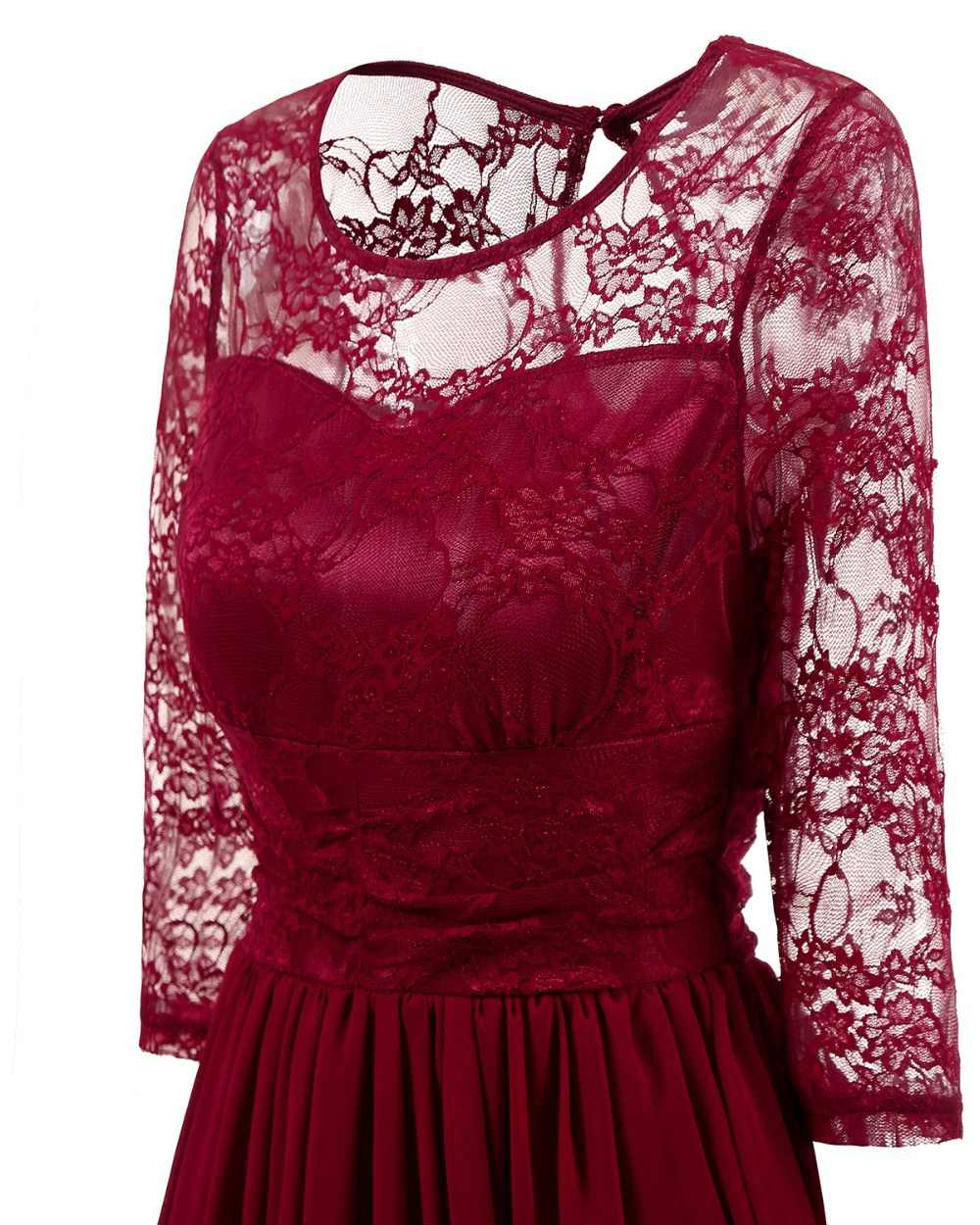 ... CD1581 Burgundy Lace Chiffon Short Bridesmaid Dresses Wedding Party  Dress Gown Prom Sister Bride Toast ... d25bccecff5b