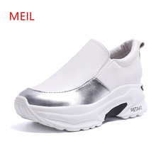 Woman Sneakers White Shoes 2019 PU Female Casual Platform Slip On Loafer Quality Trainers Women