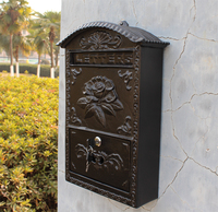 Cast Aluminum Flower Mailbox Embossed Trim Black Decorative Mailbox Metal Outdoor Home Garden Wall Mail Post Letters Box Postbox