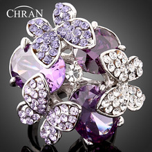 Classic Silver Plated Crystal Butterfly Vintage Rings Fashion Purple Cubic Zircon Promised for Women