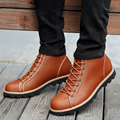 Male High Top Round Toe Handmade Tooling Boots Thick Split Leather Comfortable Thick Heel Work Boots Breahtable Pigskin Lining