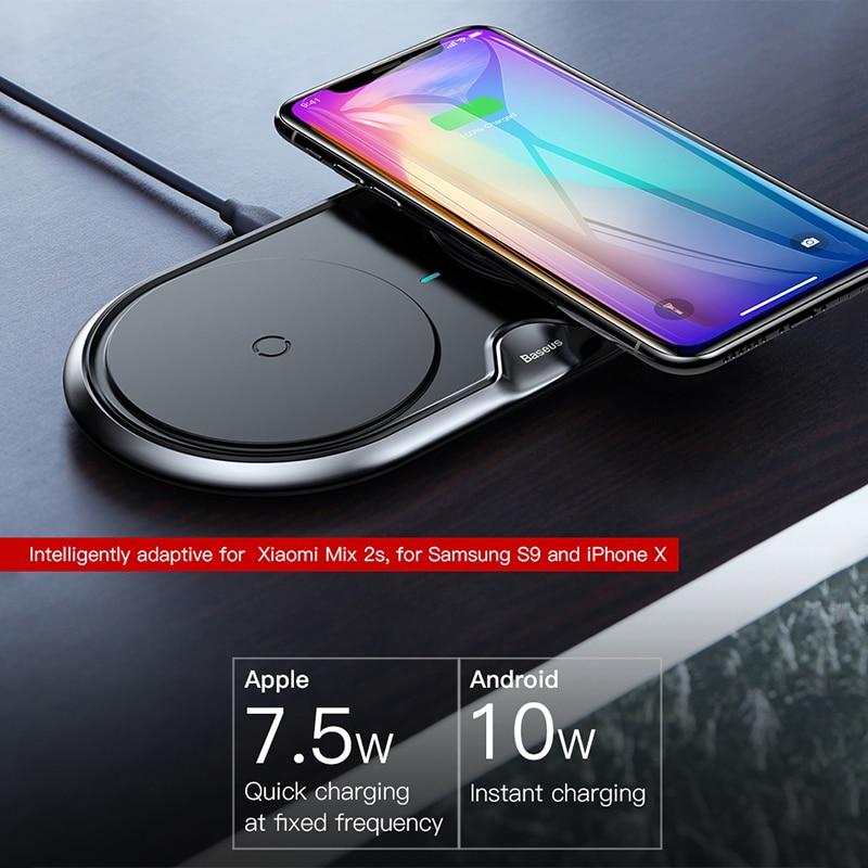 Baseus 10 W Double Siège Qi Sans Fil chargeur pour iphone X 8 Samsung S9 S8 Note 8 Rapide De Charge chargeur sans fil chargeur de bureau - 2