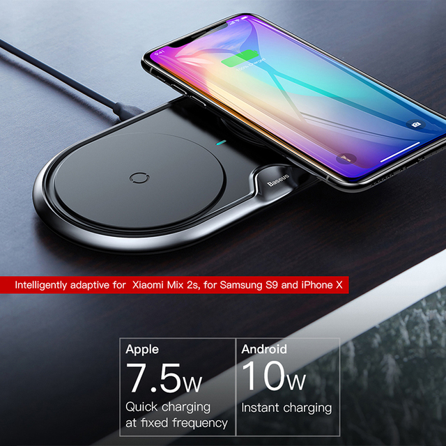 Desktop Dual Seat Qi Fast Wireless Charger