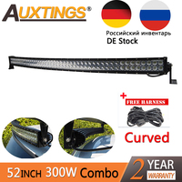 Auxtings 300W LED Light Bar Curved 52inch 4x4 CE RoHS barra led IP67 High Power Work Light Bar Car Combo Led Auto offroad