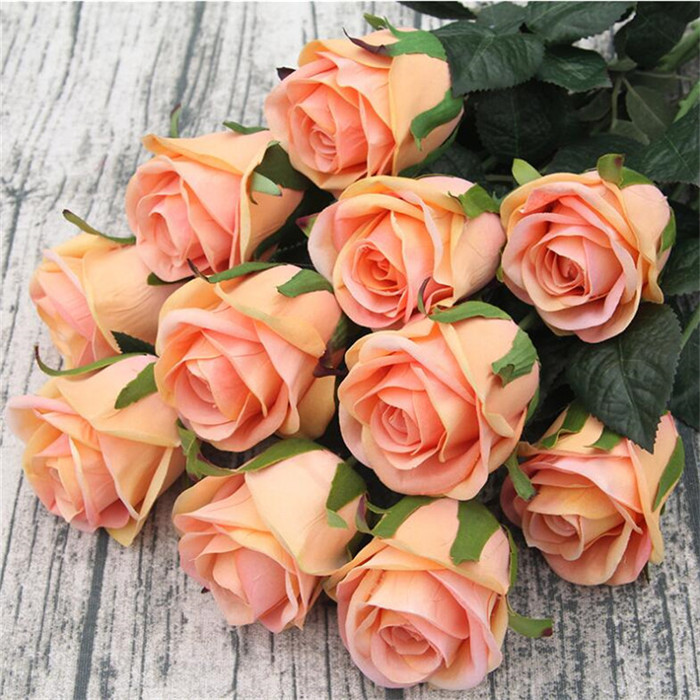 20pcs Rose Flowers Artificial Flower Stems 70cm Long White Red Blue Pink Orange Color In Dried From Home Garden On