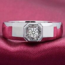 Diamond Solitaire for Men 0 10ct Natural Diamond 18K White Gold Handmade Wedding Engagement Fine Jewelry