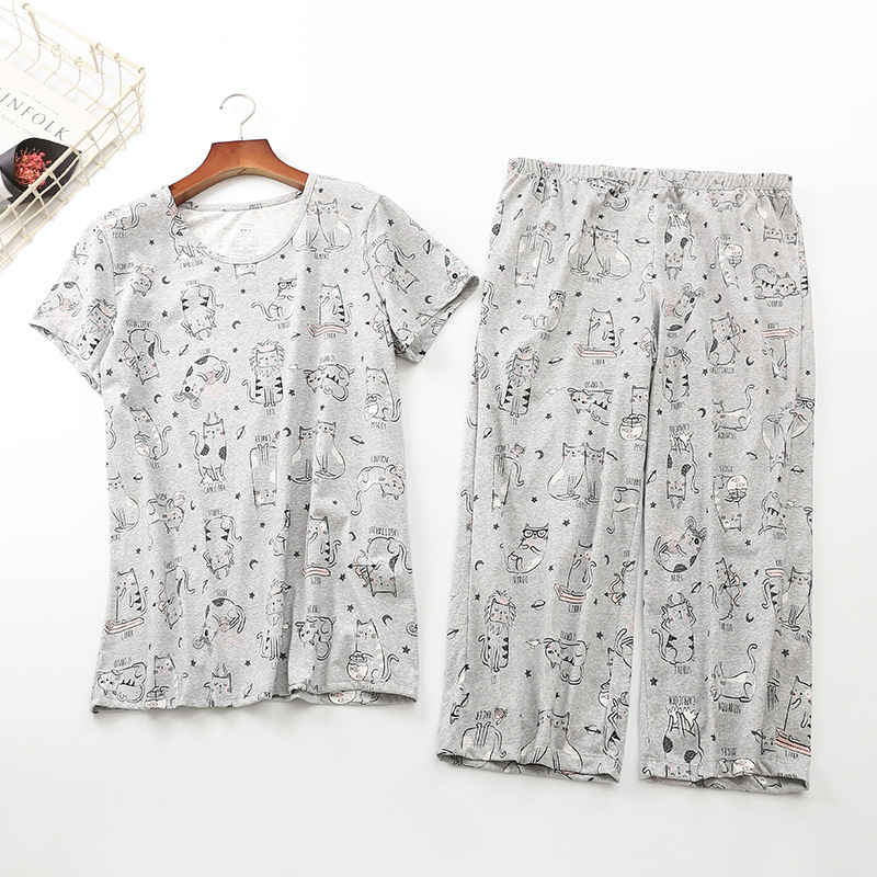 Cotton Print Cat Pajama Set New 2019 Summer Women Pajamas Top + Capris Elastic Waist Plus Size 3XL Lounge pijamas S92004