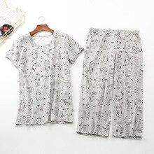 Ensemble pyjama en coton imprimé chat, nouveau ensemble été 2019, haut + pantacourt, taille élastique, grande taille 3XL, Lounge S92004