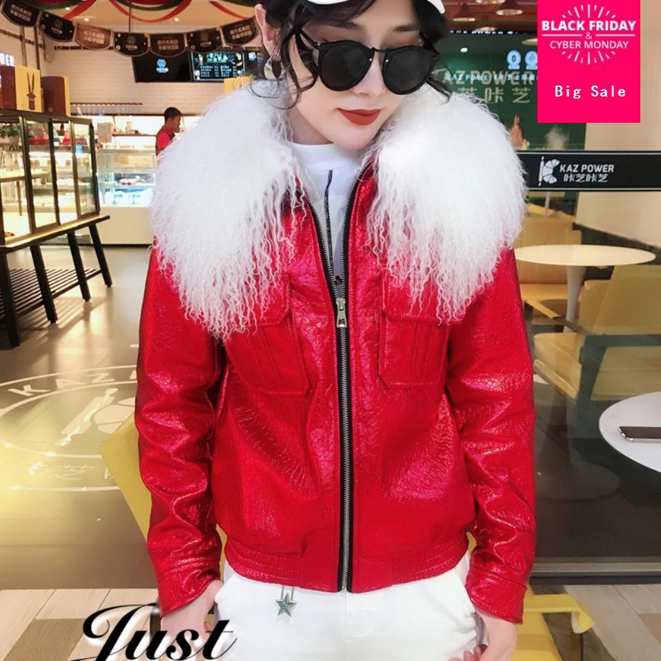 Winter fashion brand womens   leather   jacket Detachable large fur collar bright   leather   coat female long sleeve slim outwear L1582