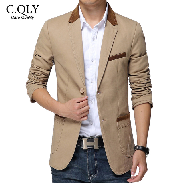 5XL 6XL de Los Hombres Blazer Slim Fit Cotton Slim Fit Slingle Breasted Spliced Ocasional Blaser Hombres Otoño de manga larga Chaqueta Hombre de Color Caqui