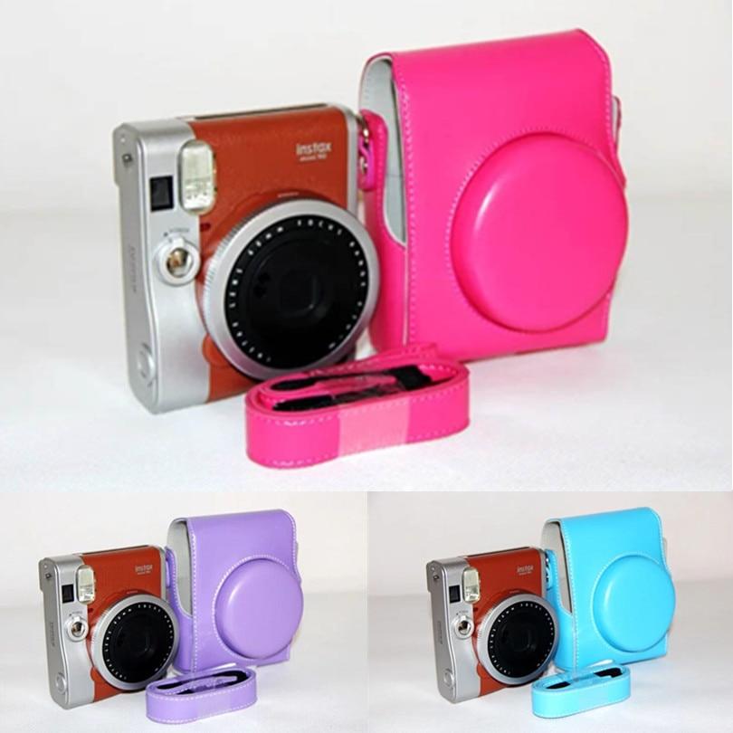 high quality 8 Colors Cute PU Camera Shoulder Strap Bag Corlorful Hard Case Cover Pouch For Fuji Fujifilm Instax Mini 90