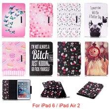 For Apple iPad 6 iPad6 Case Cute Cartoon Dog Love Skull Pattern Leather Protector Back Cover For iPad Air 2 Air2 9.7'' DP00E