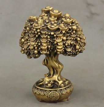 China Bronze Wealth Money YuanBao Shake Qian Shu tree Cornucopia Statue.
