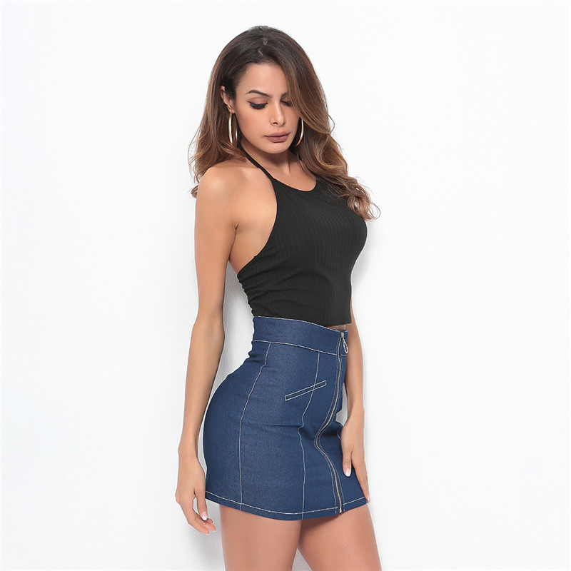 Jeans Skirts Women 2019 New Summer Blue High Waist Mini Skirt Lady High Quality Office Casual Bodycon Zipper Short pencil Skirts