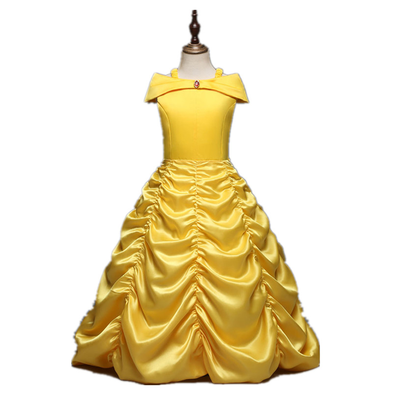 Toddler Girls Summer Belle Dresses Princess Costume Party Clothing Beauty and the Beast Yellow Dress Sleeveless Clothes DS19 glittery girls tutu dress elsa belle princess dress girls party dresses pageant gowns baby kids cos beauty and the beast costume