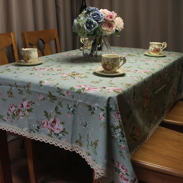 Charmant CURCYA Green Table Cloth Pastoral Rose Flowers Printed Cotton Table Cover  Thick Dustproof Store Home Decorative