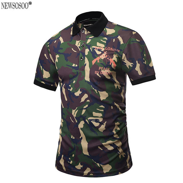 Newsosoo Brand new 2017 Camouflage design Polo Shirt Men summer style short sleeve Polo shirt tops male M-3XL PT3