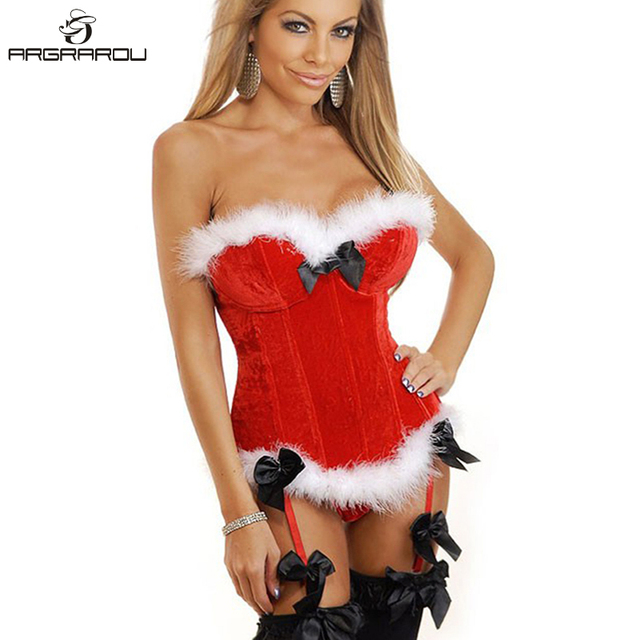 efaeea547e6 Women Sexy Red Christmas Santa Costume Bustier Corset Top Lingerie Holiday  Costumes Overbust Corsets and Bustiers Santa Dress