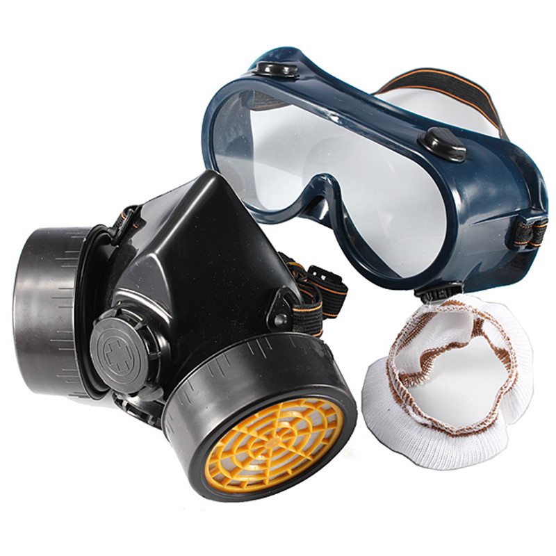 Double Cartridges Filter Cotton Chemical Respirator Anti-Dust Mask + Eye Goggles New Black high quality dust mask set mask goggles 1pcs filter cotton pm2 5 respirator dust mask welding polished n95 respirator mask