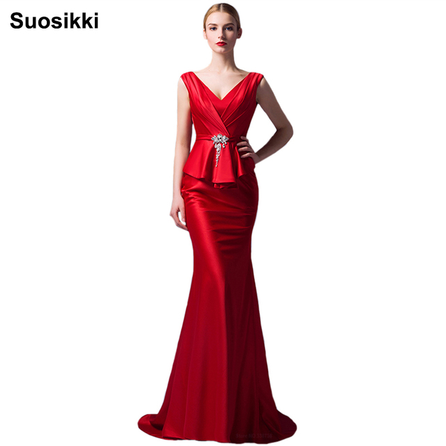 Suosikki New Arrival 2016 Seductive Red Mermaid Evening Dress Long fishtail  Formal Gowns Lace Up robe de soiree 91204efb773a