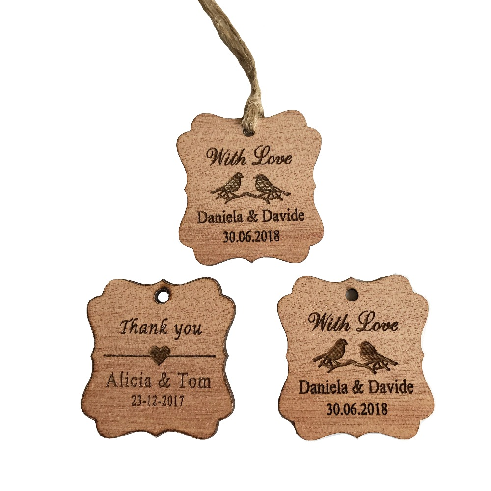 100pcs Personalized Thank You With Love Wedding Tags Engraved Wooden ...
