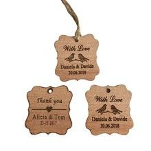 Etiquetas de agradecimiento personalizadas para boda, etiquetas de madera grabadas para boda favorece etiquetas para decoración nupcial y yute, 100 Uds.