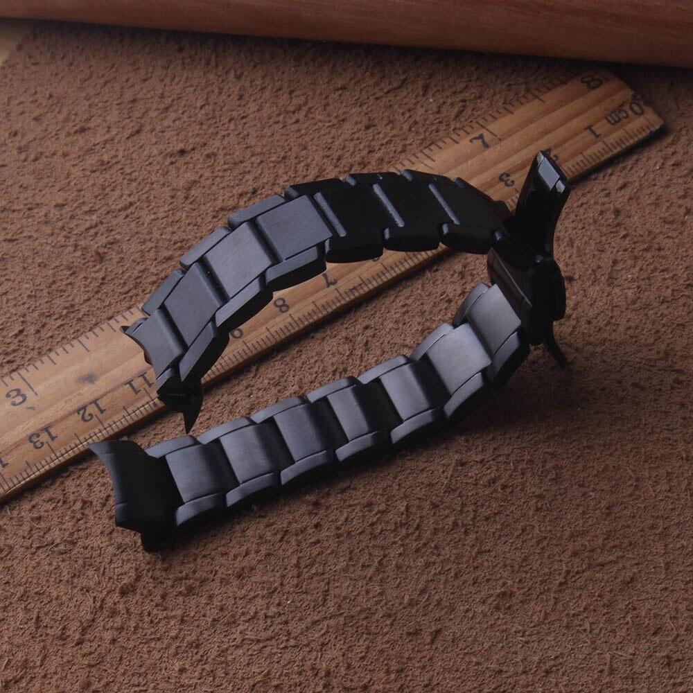 Neue arrivalStainless Stahl Strap für Samsung Galaxy Uhr 42mm Armband 20mm gebogene enden schwarz Armband Metall matte Uhr band-in Uhrenbänder aus Uhren bei  Gruppe 2