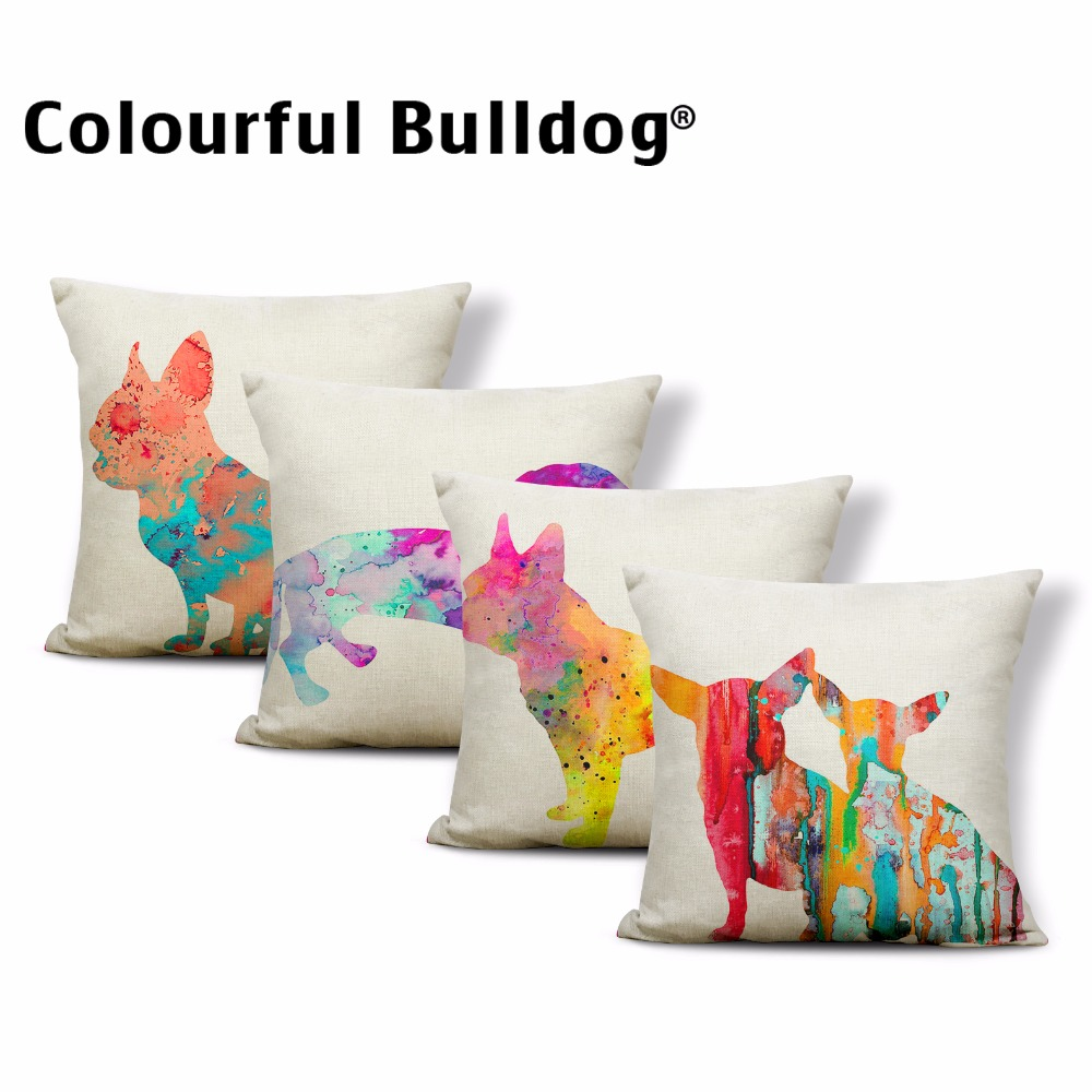 Watercolor Dog Pillowcases Cushion Chihuahua Dachshund Throw Pillows French Bulldog 43*43cm Square Children Room Cushion Covers